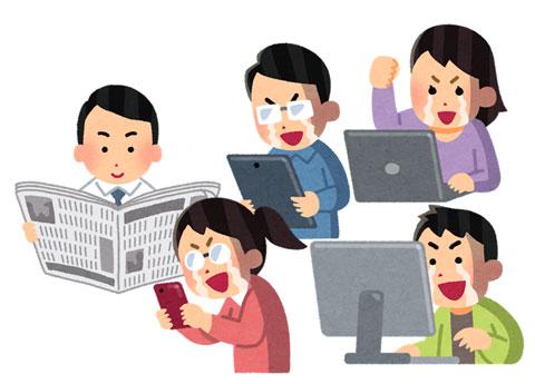 新聞を見ている人とインターネットを見ている人